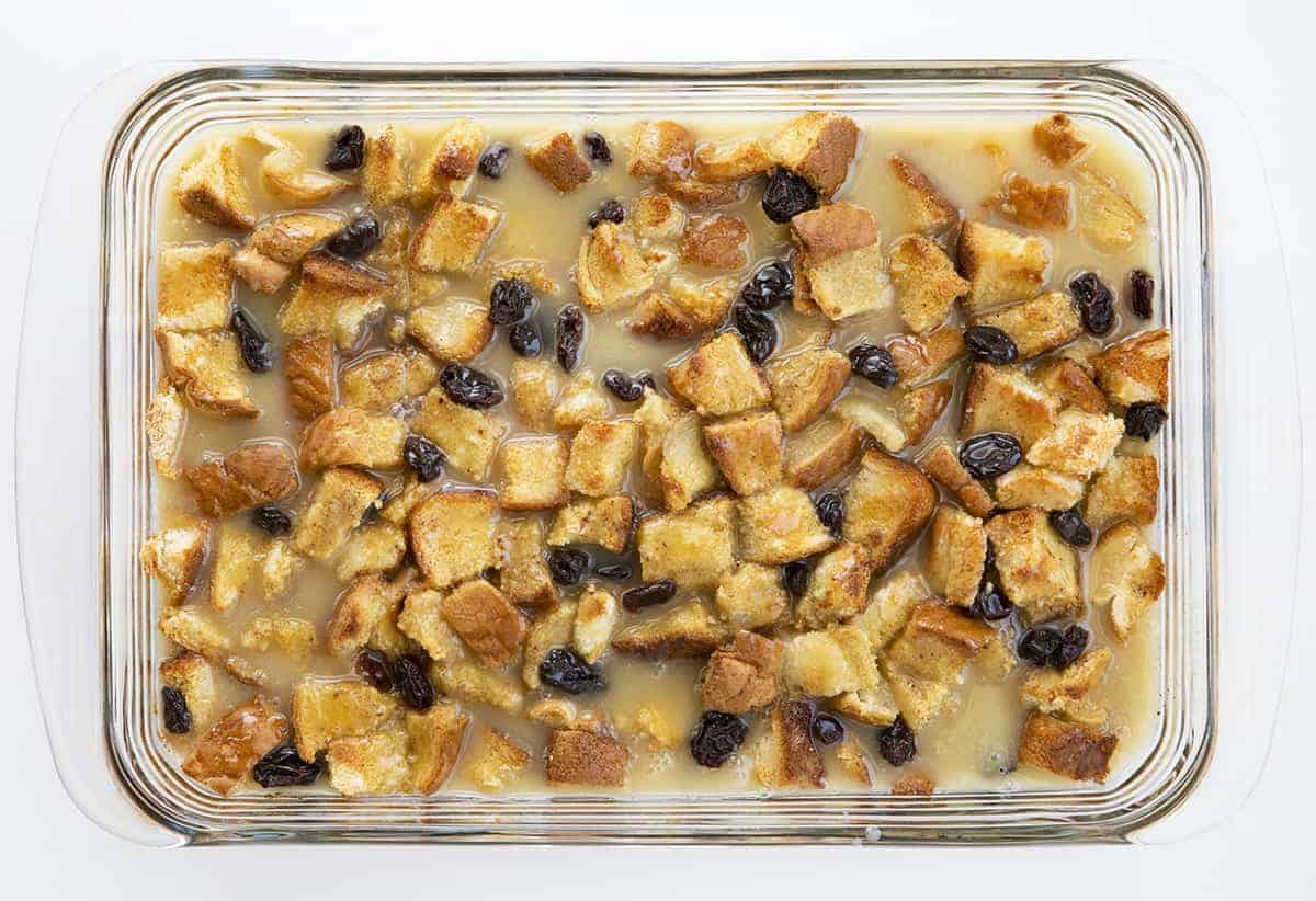 Overhead Image Showing Baking Bread Pudding with Raisins