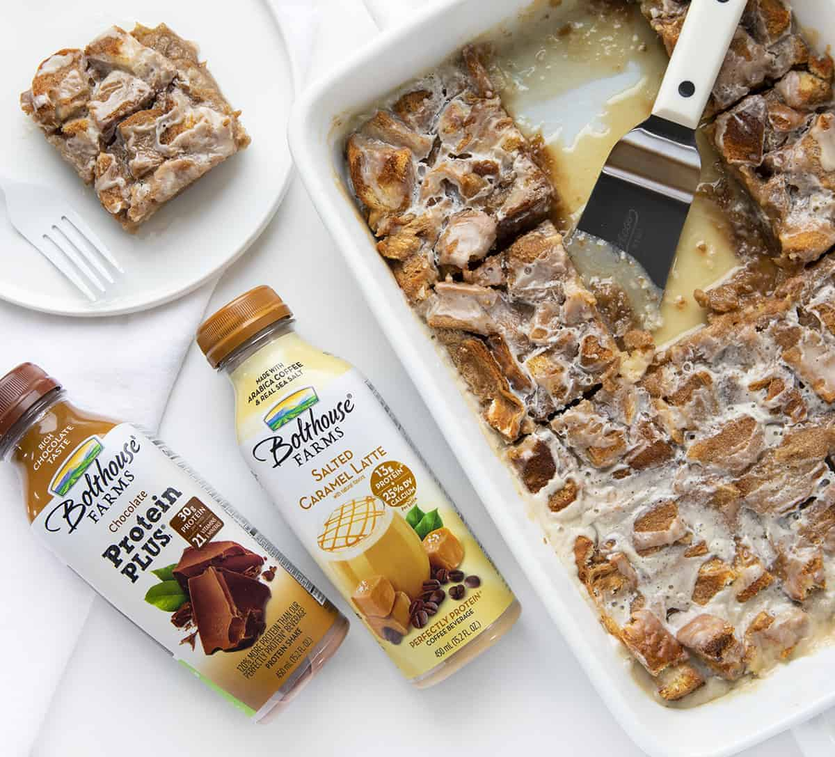 Overhead Image of Chocolate Bread Pudding With Caramel Glaze using Bolthouse Products