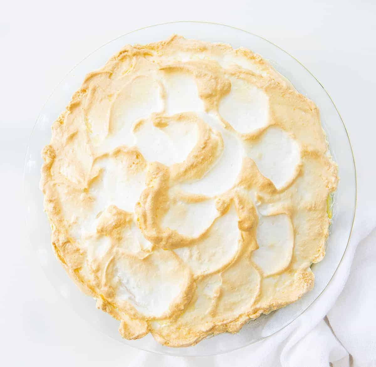 Overhead of a Lemon Meringue Pie with Slightly Browned Meringue