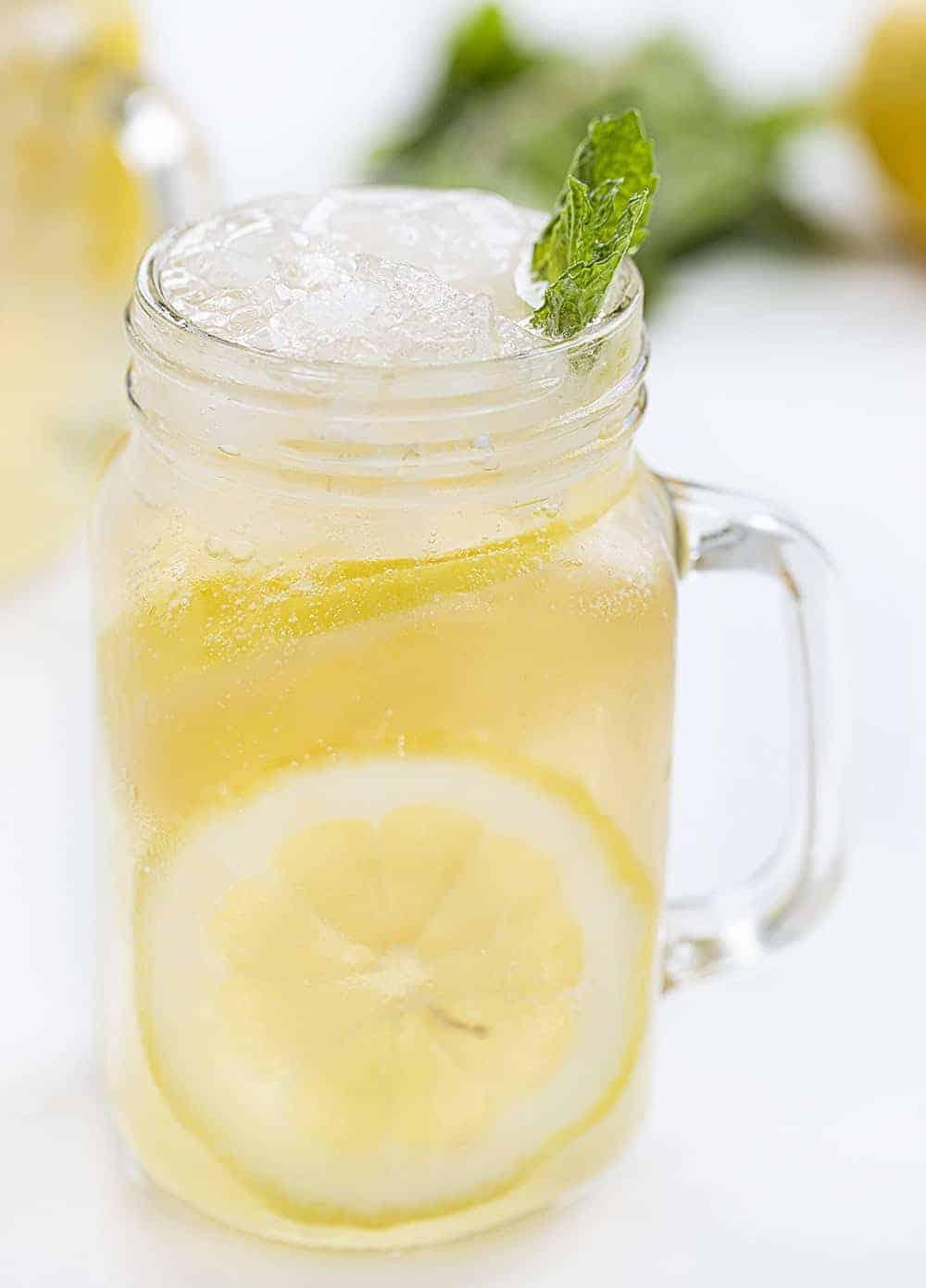 Glass Mug of Minnesota Spiked Lemonade with Mint