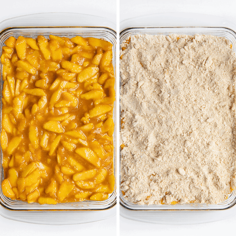 Process Shot of Pan of Peaches and then the Crisp Added to the Top