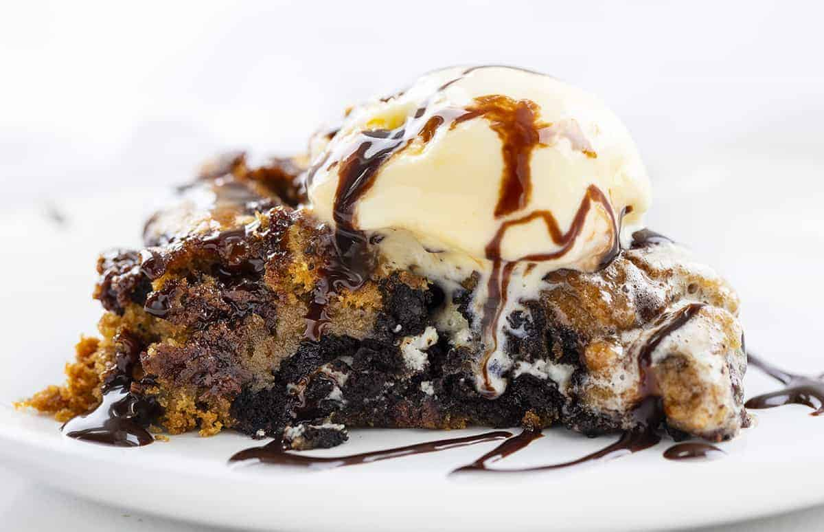 One Piece of Skillet Candy Cookie with Ice Cream Melting on Top