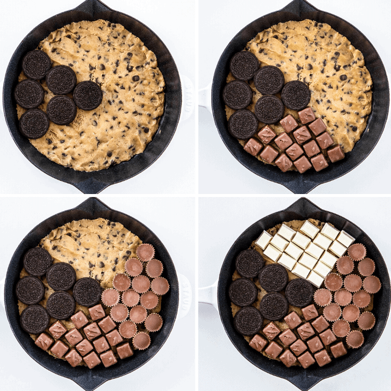Process of Adding Candy to Center Layer of Skillet Cookie
