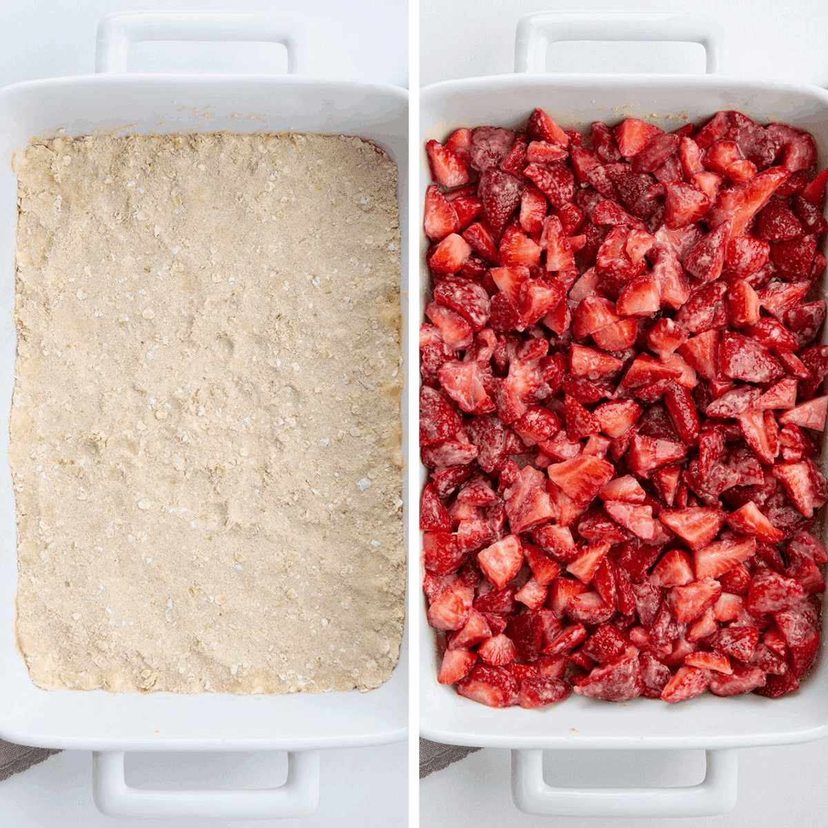 Process Images for Layers of Strawberry Crisp