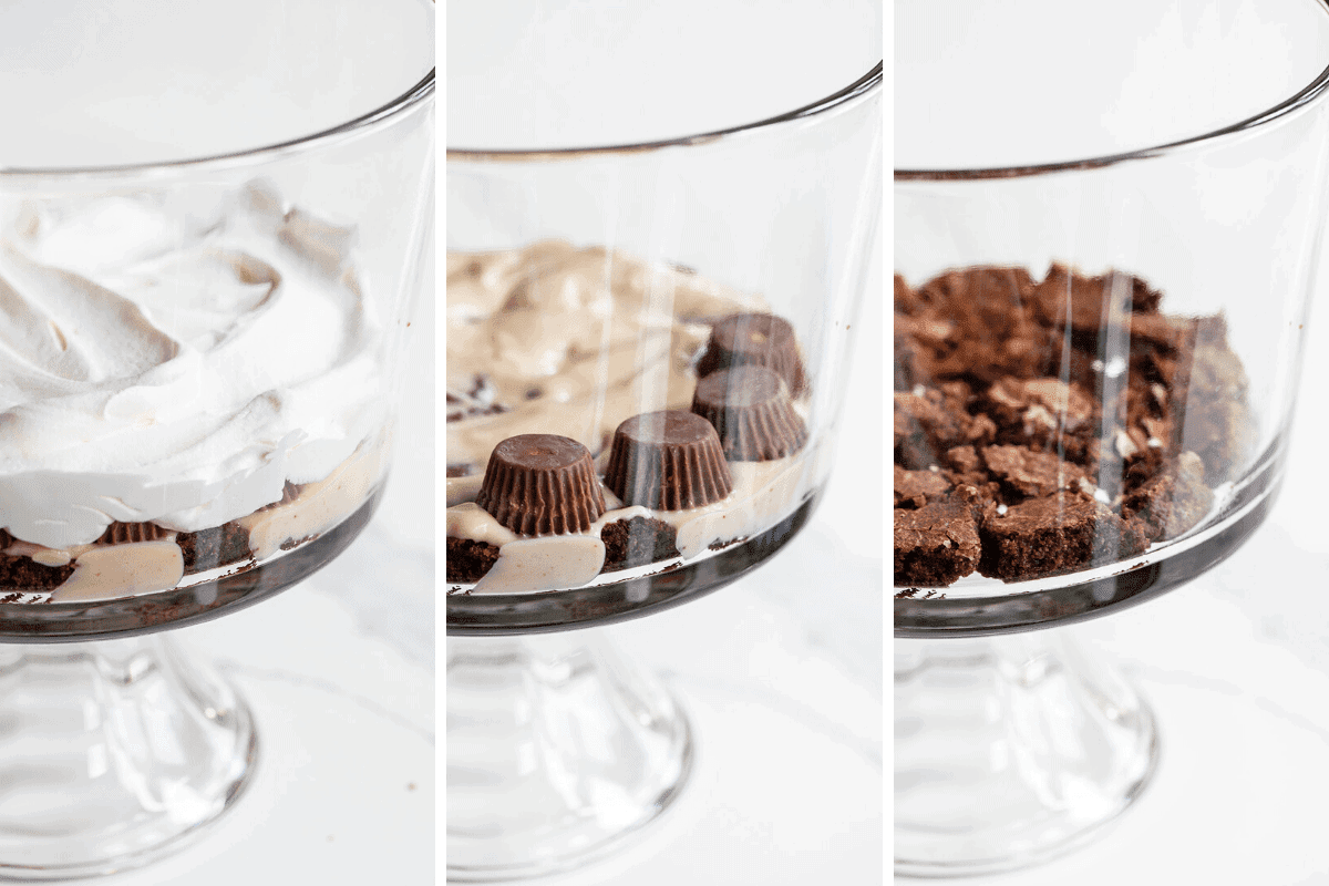 Trifles Process Shots of How to Fill Up Trifle Dish with Brownies, Peanut Butter Pudding, Reese's, and Whipped Topping