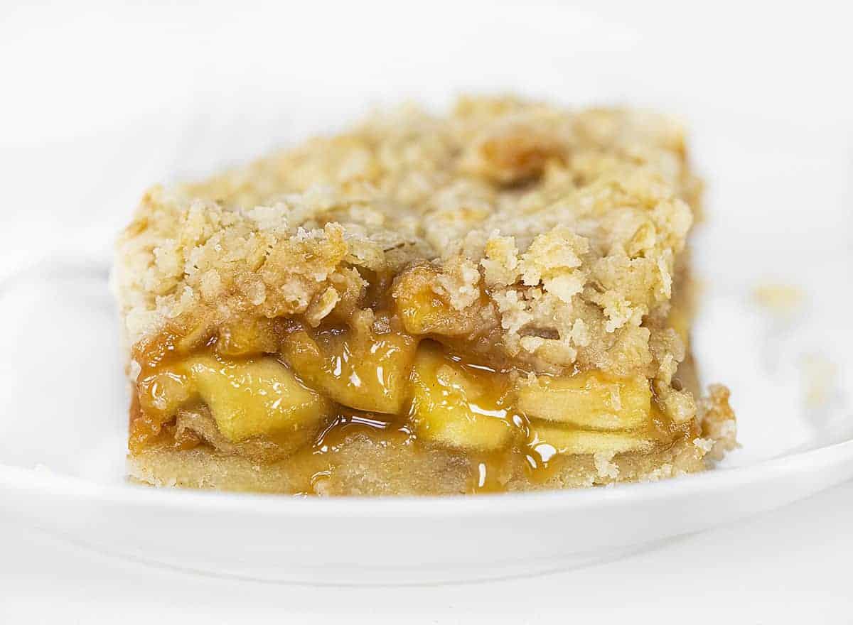 One Oatmeal Caramel Apple Bar on White Plate