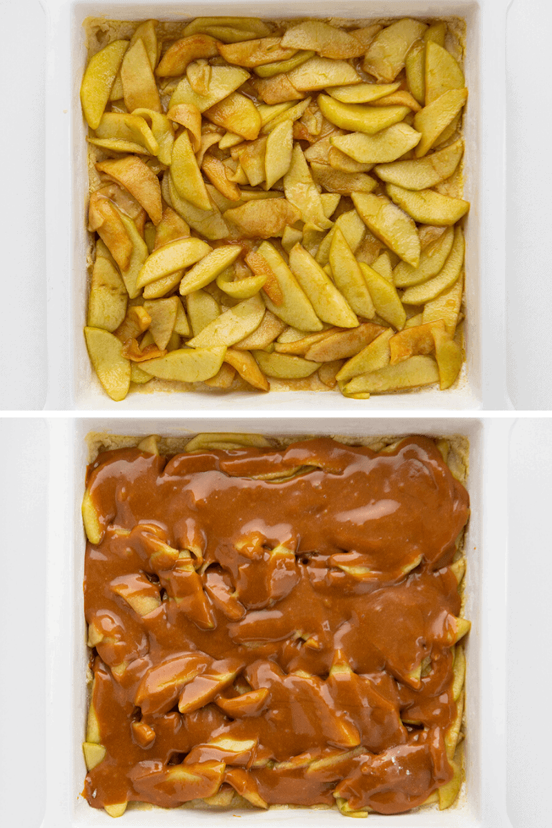Process Shots of Oatmeal Caramel Apple Bar one with Apple one with Caramel over the Apple Before Baking
