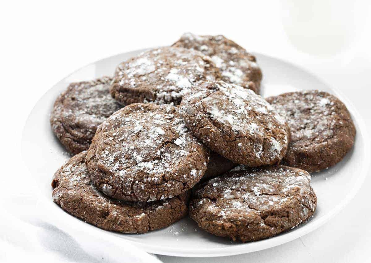 Chocolate Ooey Gooey Cookies on w White Plate