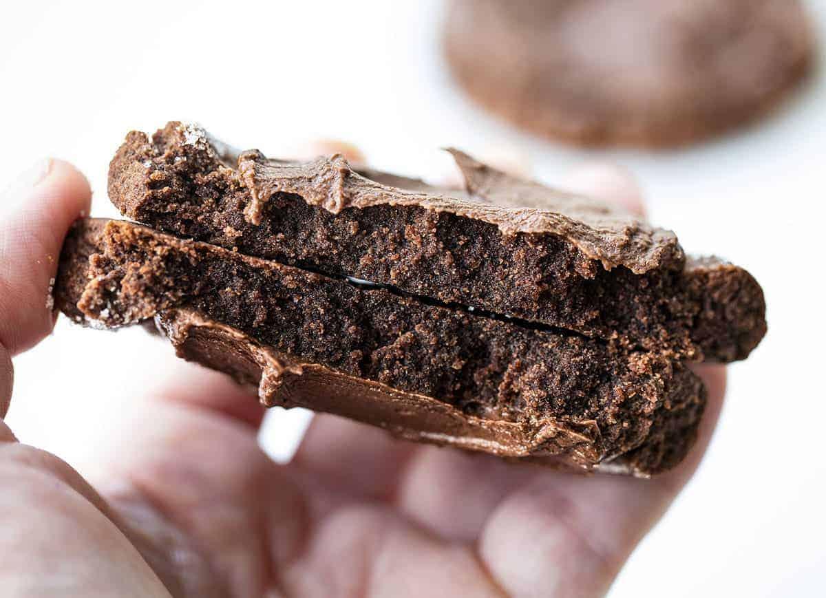 One Chocolate Swig Cookie Broken in Half Showing the Inside Texture