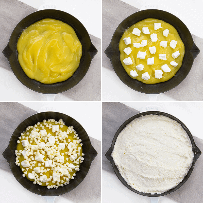 Process Collage of Adding Cream Cheese, White Chocolate Chips, and Cake Mix to a Lemon Dump Cake