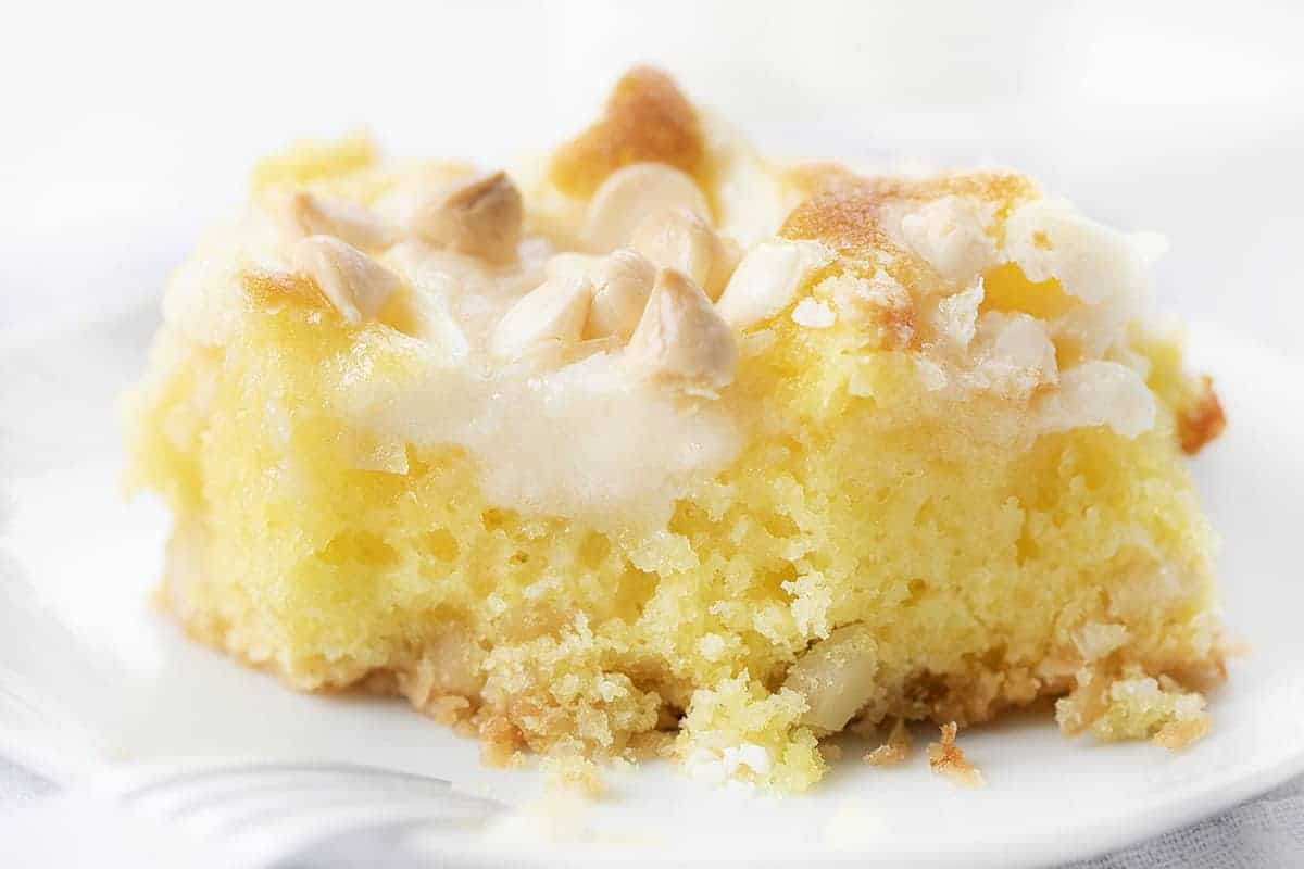One Piece of Lemon Earthquake Cake with One Bite Removed