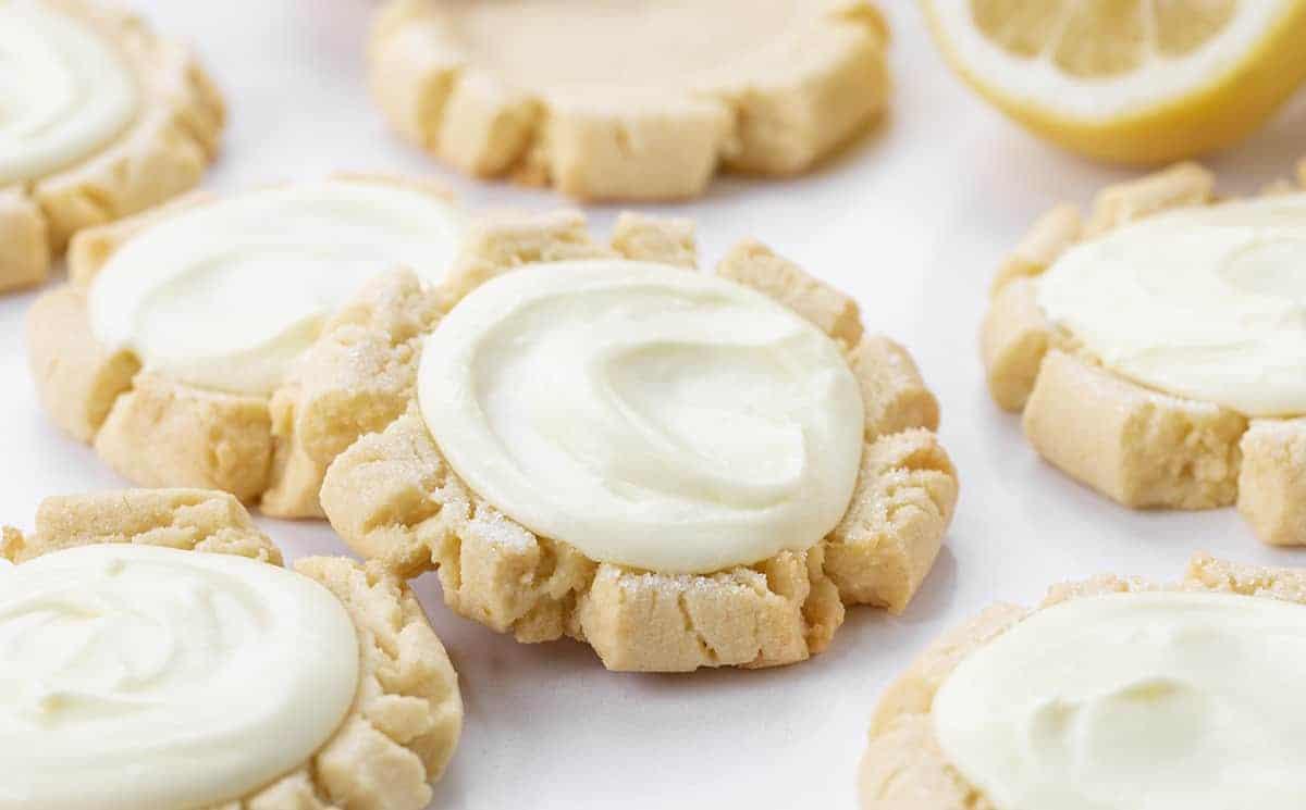 Close up of Lemon Sugar Cookies with Lemon Frosting