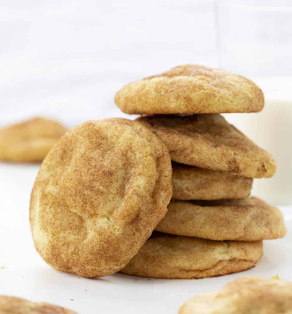 Apple Pie Snickerdoodles Stacked on a White Counter