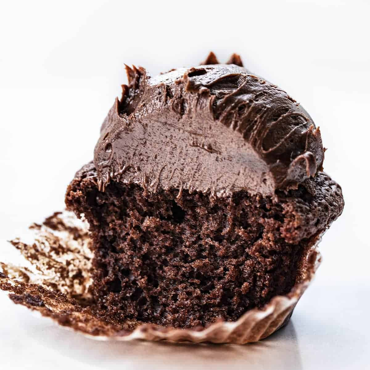 Chocolate Brownie Cupcake Cut Into Showing Soft Texture Inside