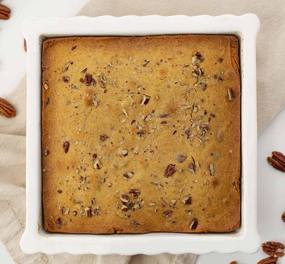Overhead of Maple Pecan Snack Cake in White Pan