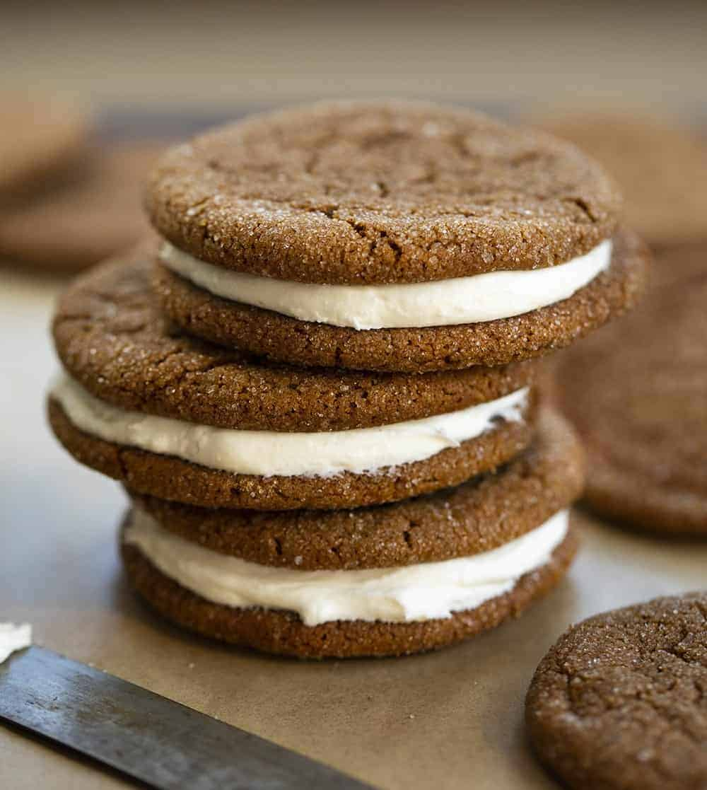 Stack of Ginger Cookie Sandwiches