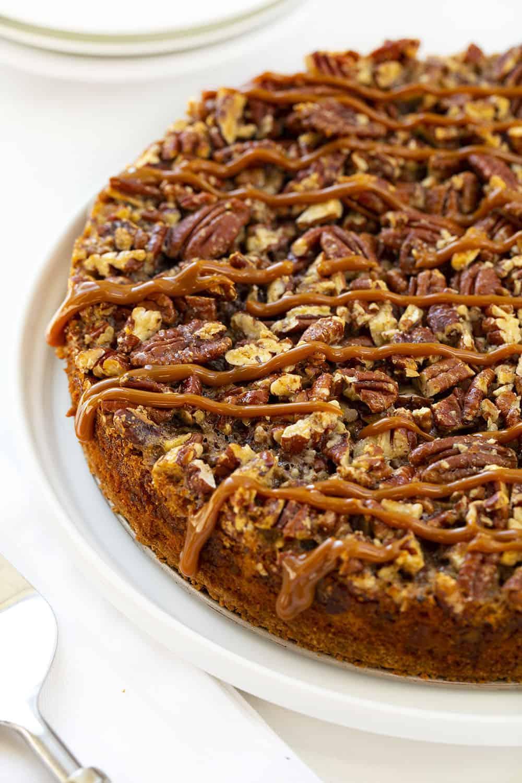 Dulce de Leche Pecan Pie Drizzled with Dulce de Leche