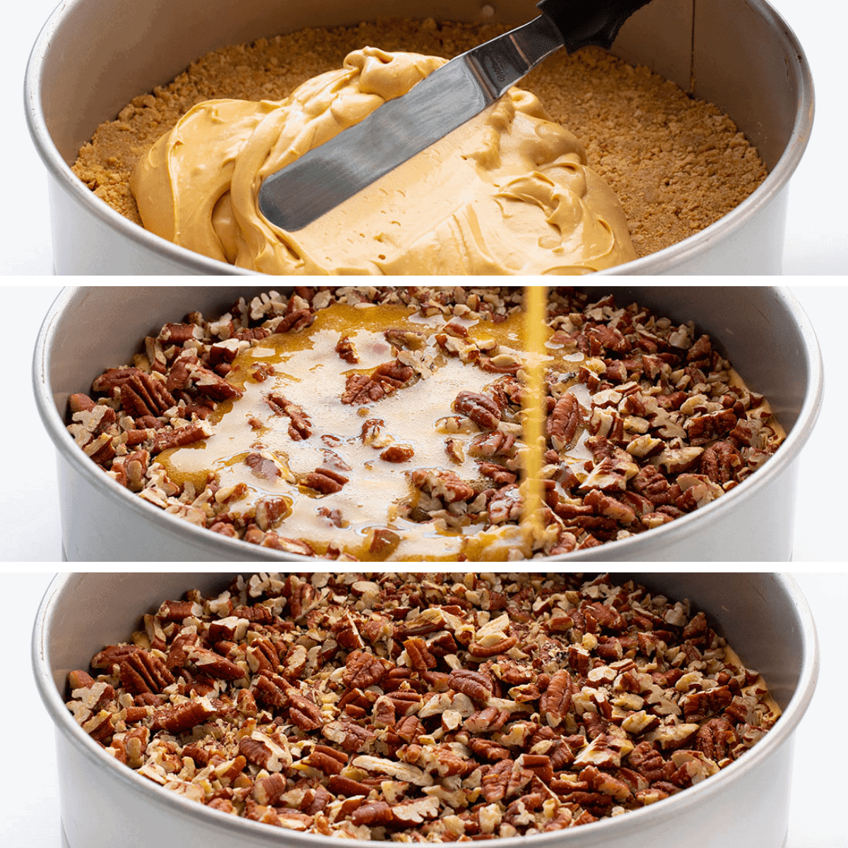 Adding the cheesecake, sauce, and pecans to Dulce de Leche Pecan Pie