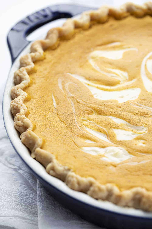 Pumpkin Cream Cheese Pie in Blue Pie Pan
