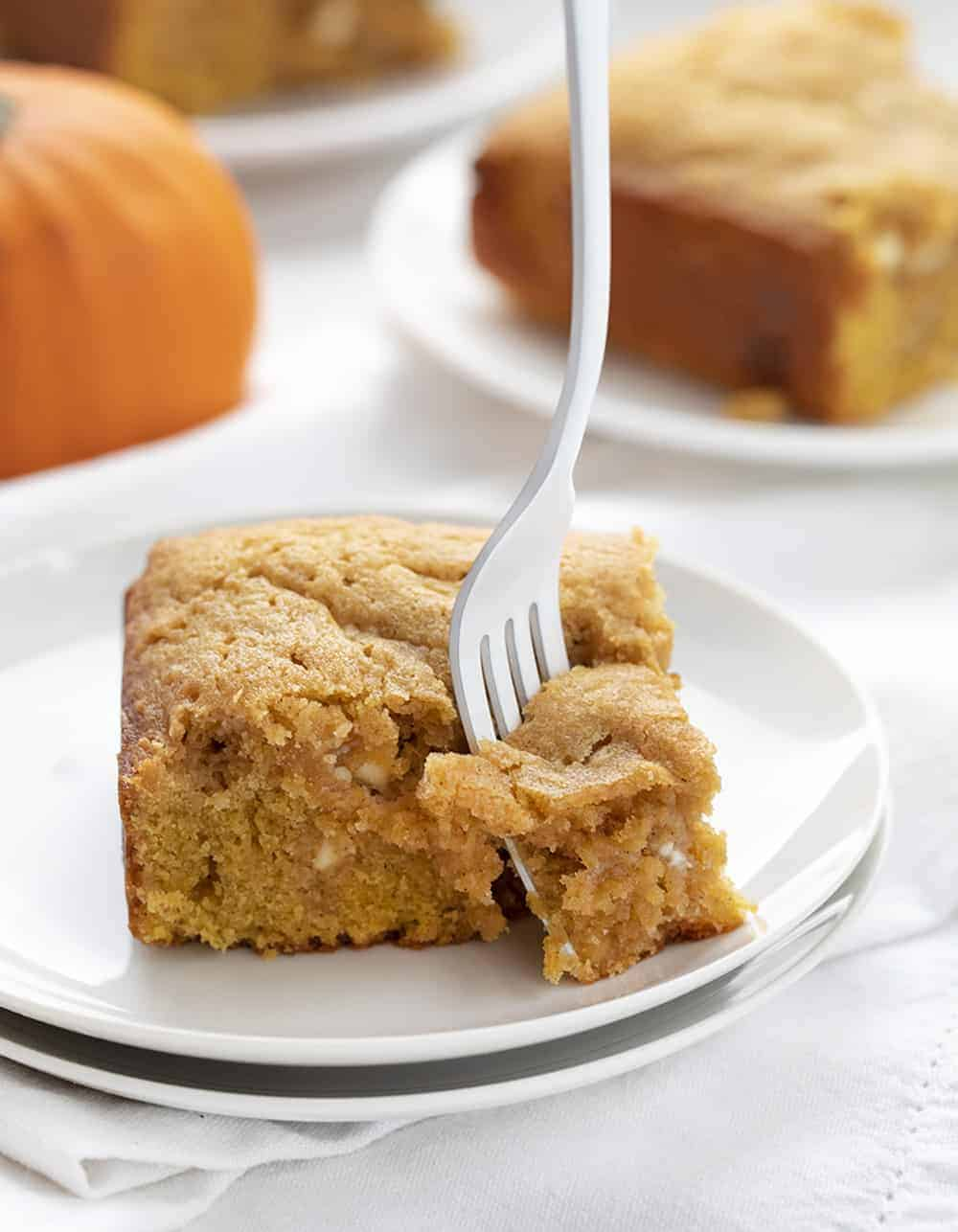 Fork Taking a Bite of Pumpkin Spice Snack Cake