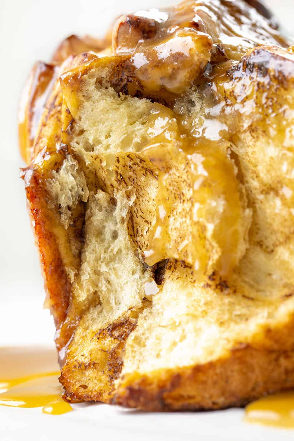 Very Close of the Inside of Apple Pull Apart Bread