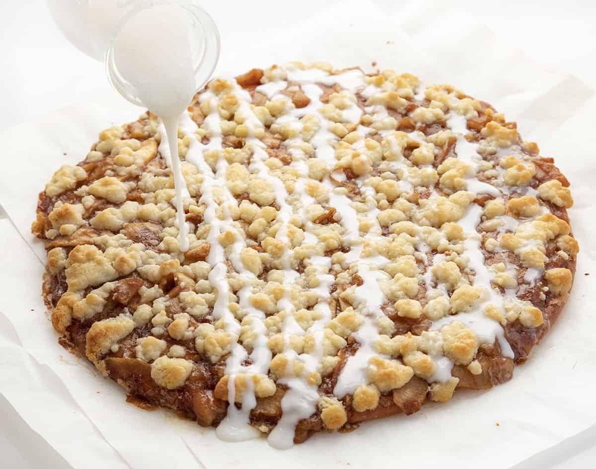 Adding Glaze to Apple Cactus Bread - Apple Dessert Pizza