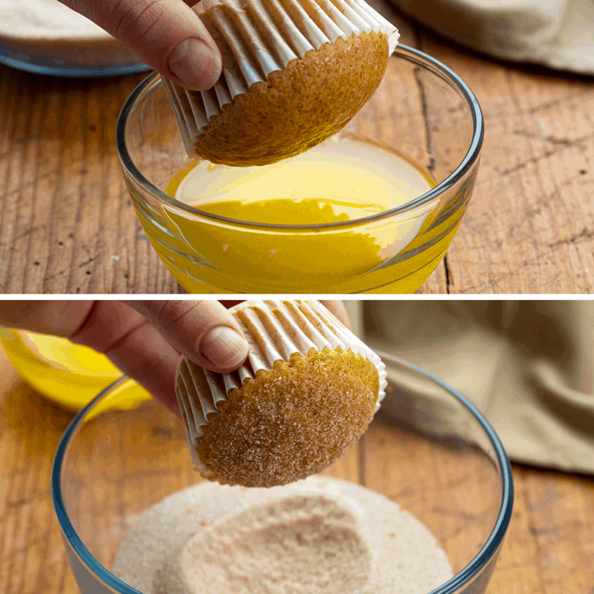 Dipping Apple Cider Muffins in Butter Then Cinnamon Sugar