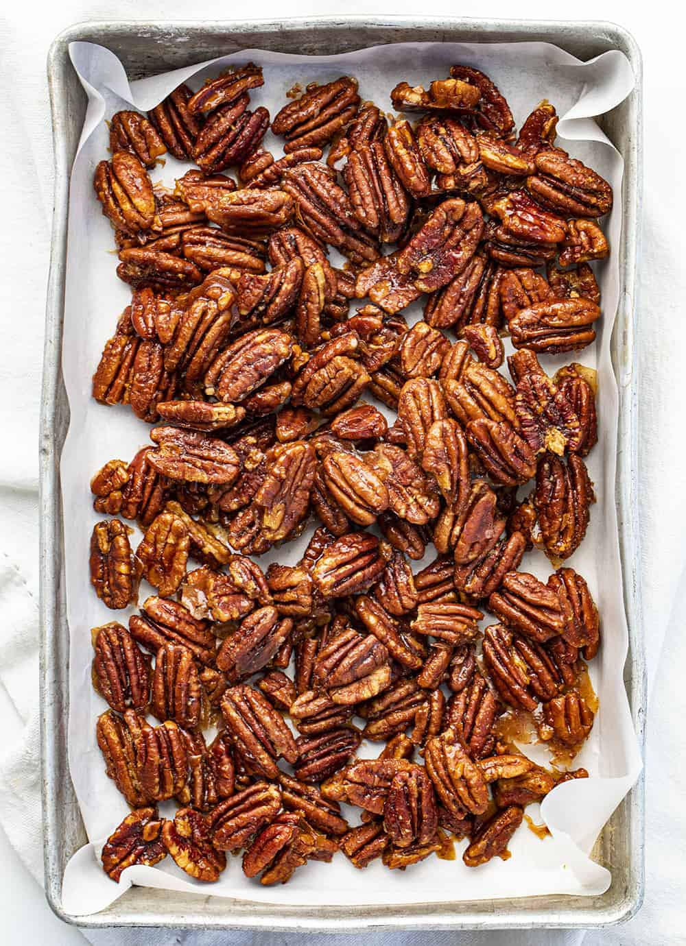 Overhead of Candied Pecans in a Pan
