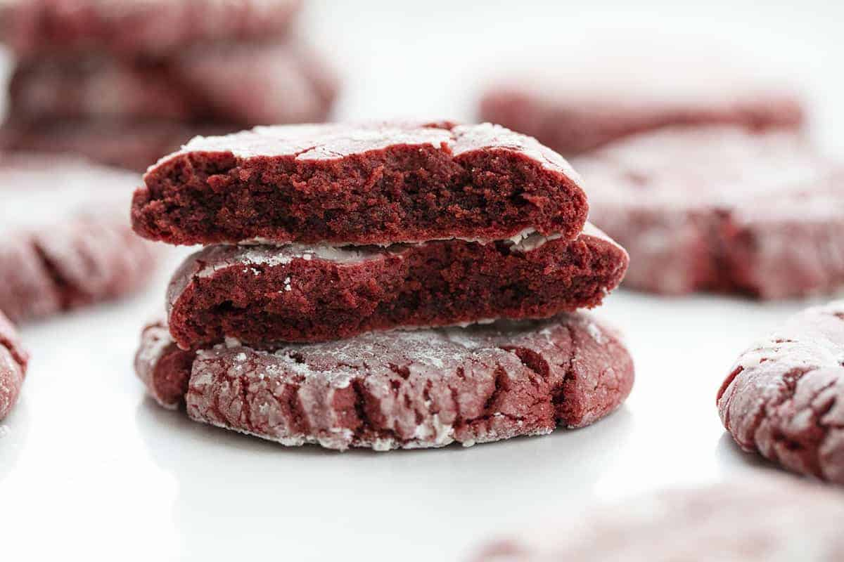 Red Velvet Crinkle Cookies Stacked Showing Inside