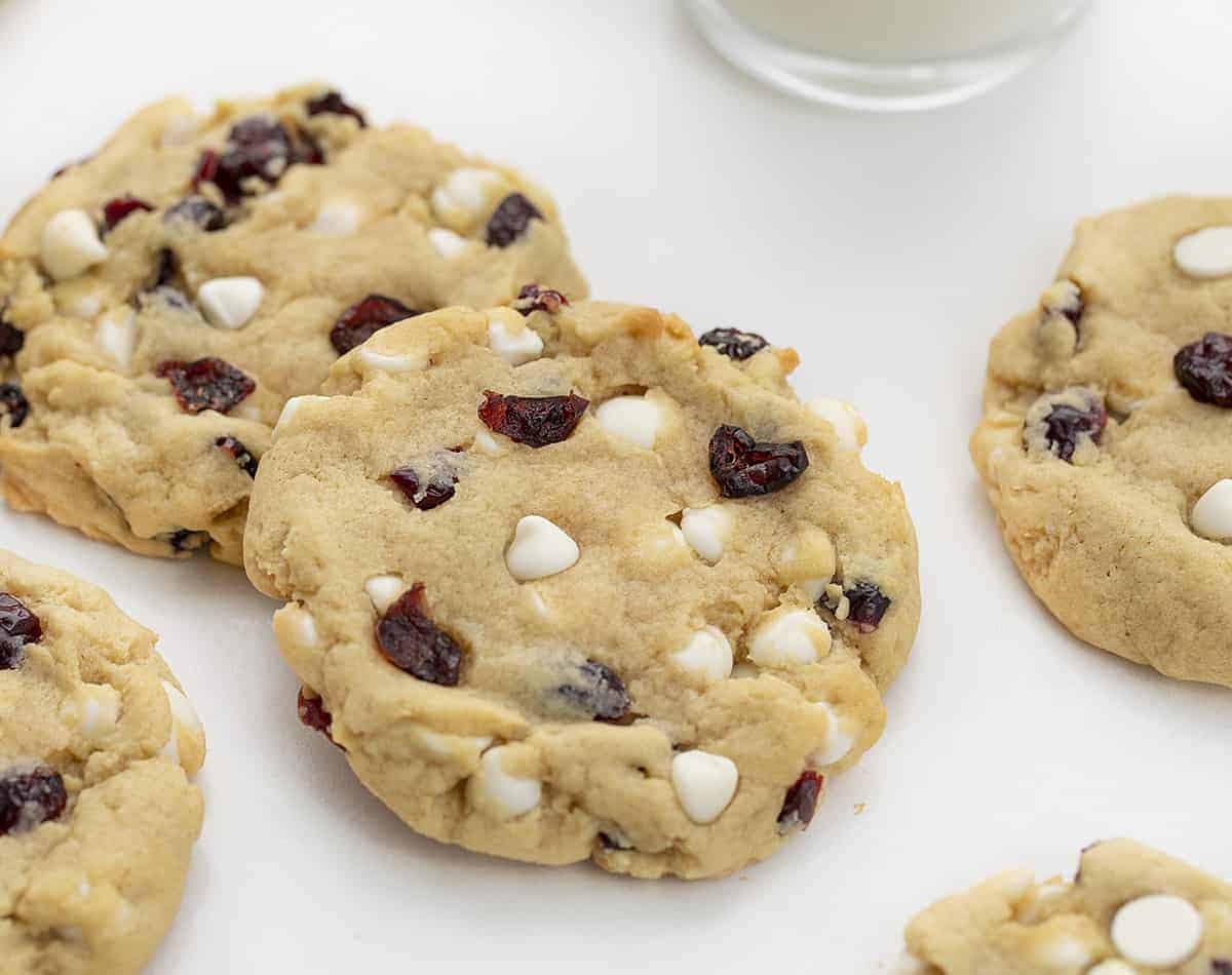 Soft Batch White Chocolate Cranberry Cookies on White Counter