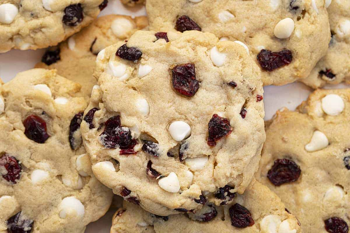 Soft Batch White Chocolate Cranberry Cookies from Overhead