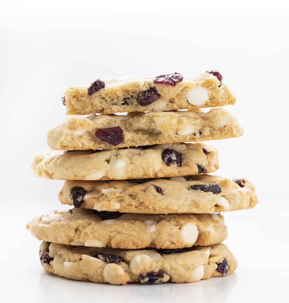 Stack of Soft Batch White Chocolate Cranberry Cookies