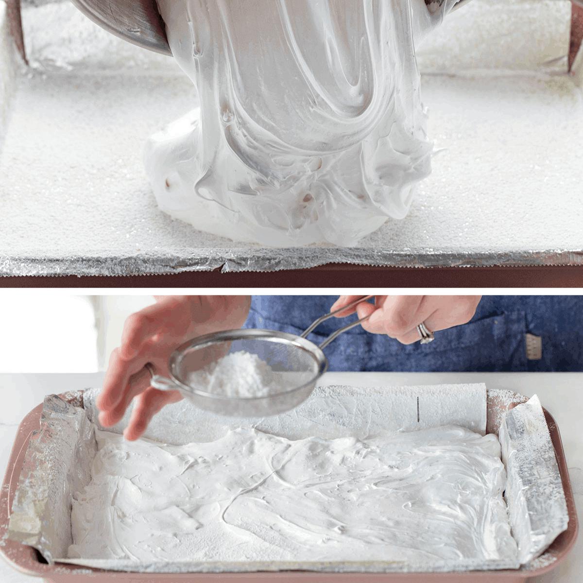 Pouring Sugar for Homemade Marshmallows