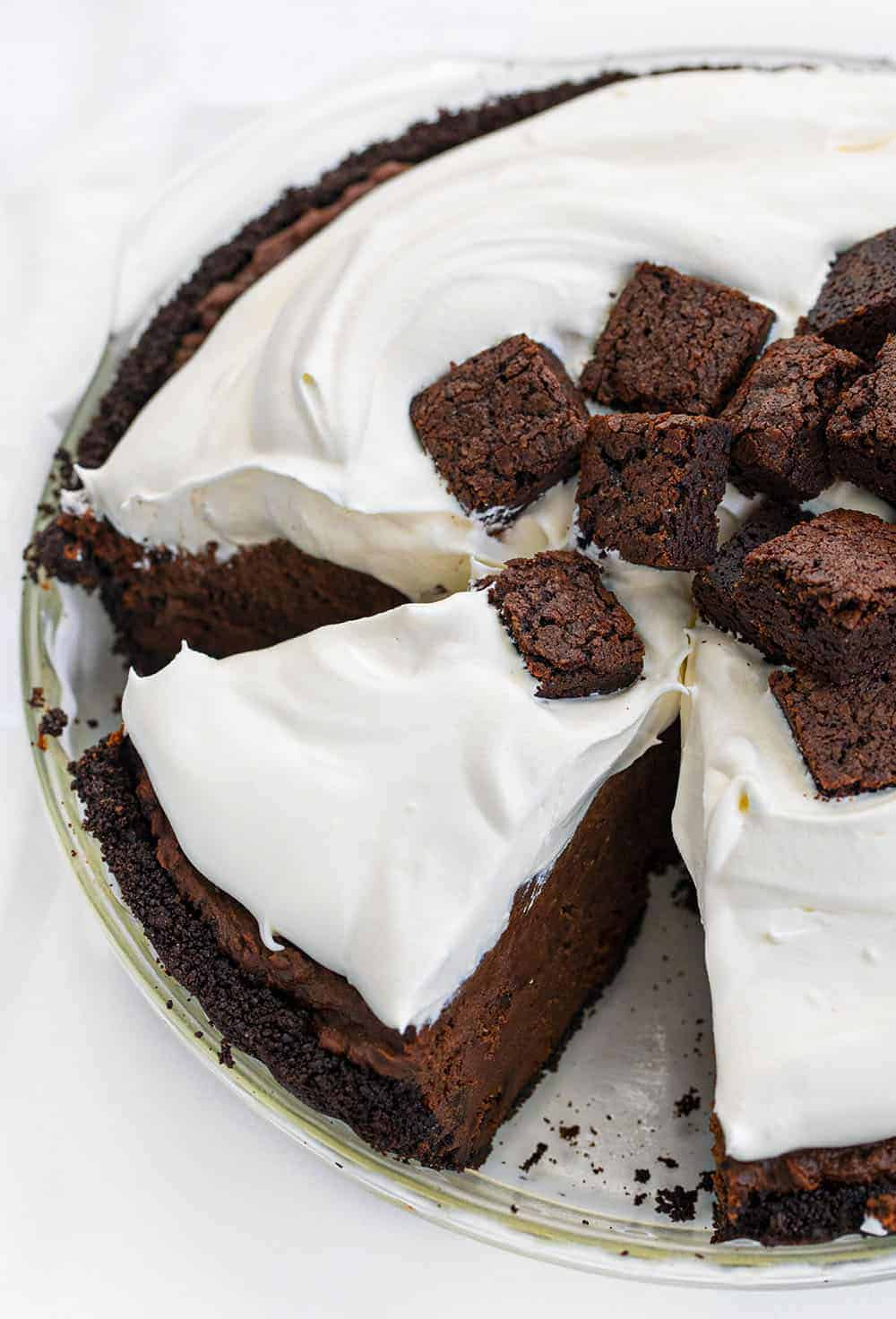 Death By Chocolate Pie - Chocolate Brownie Pie With Slice Cut Out