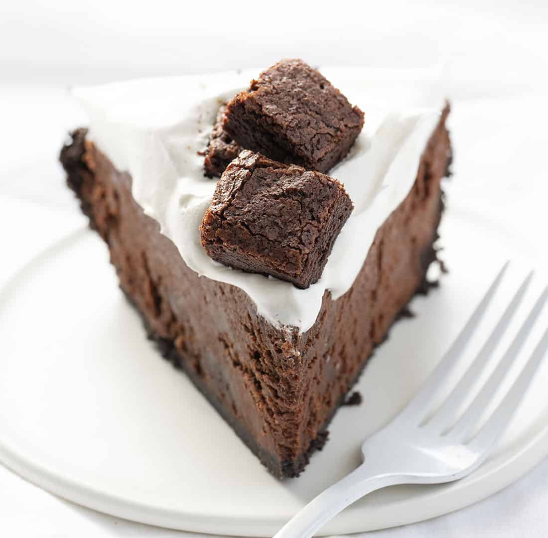 Death By Chocolate Pie - Chocolate Brownie Pie on White Plate