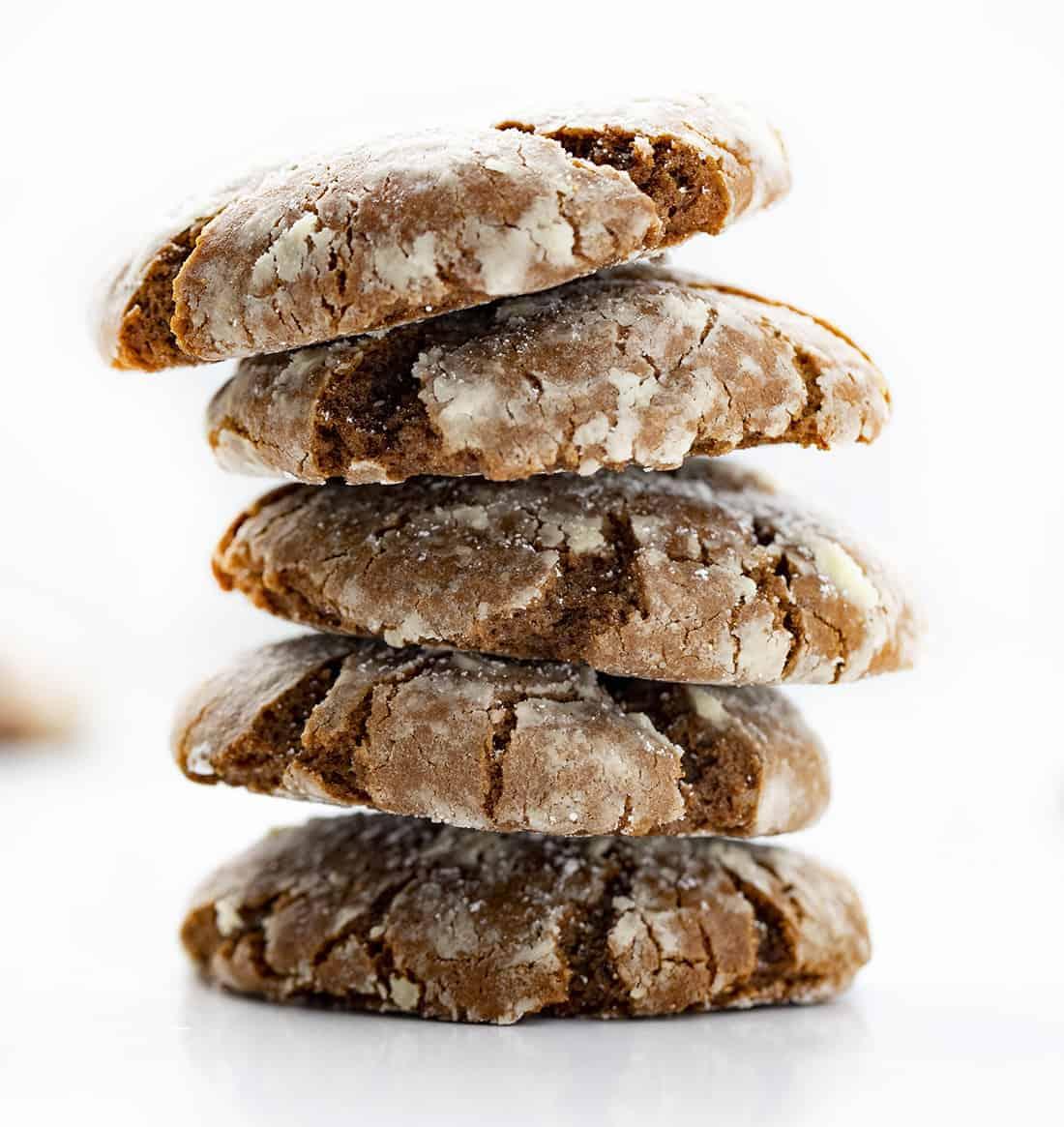 Stack of Gingerbread Crinkle Cookies