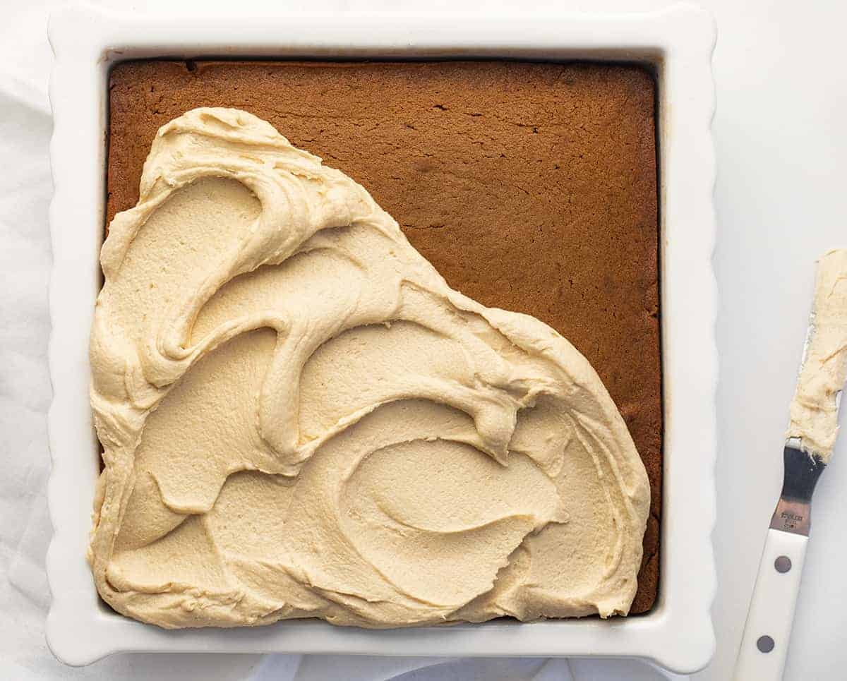 Half Frosted Gingerbread Cake with Salted Caramel Frosting