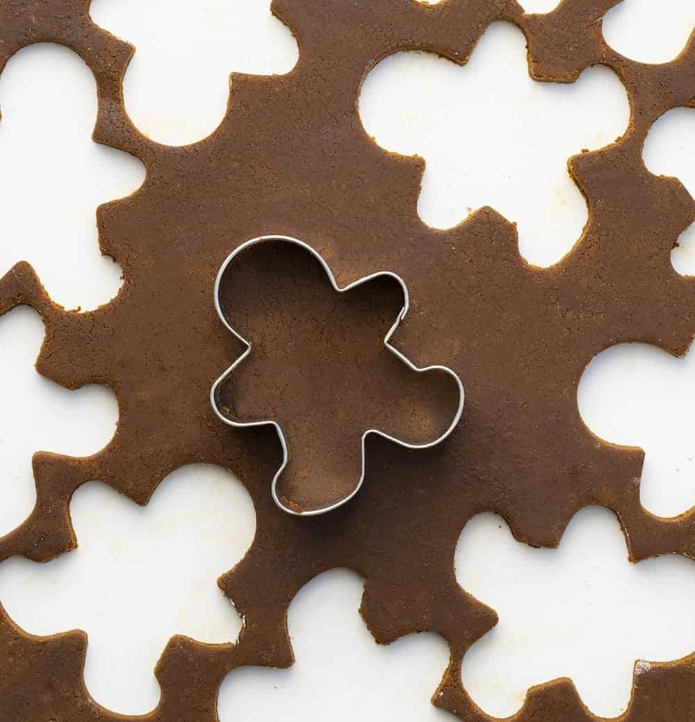Gingerbread Man Cookie Dough with Cutouts