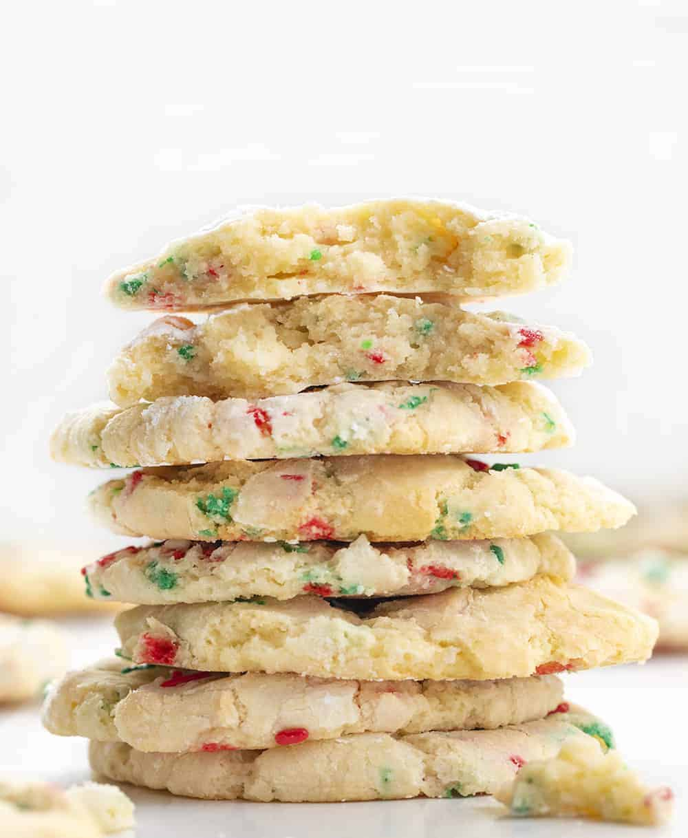 Christmas Ooey Gooey Cookies Stacked with one Broken