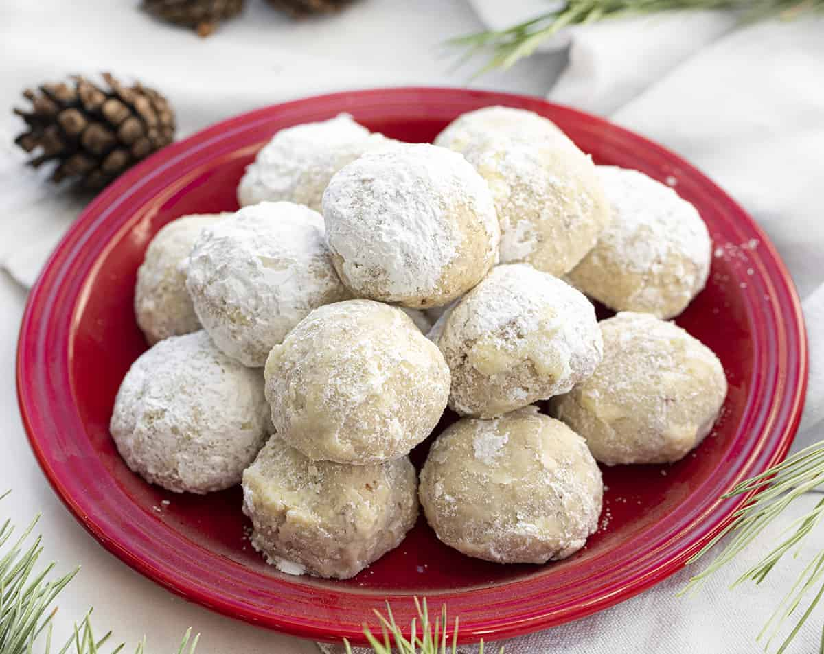 Snowball Cookies - Mexican Wedding Cookies Recipe on Red Plate