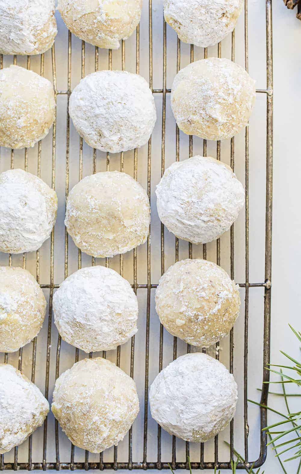Snowball Cookies - Mexican Wedding Cookies Recipe on Cooling Rack
