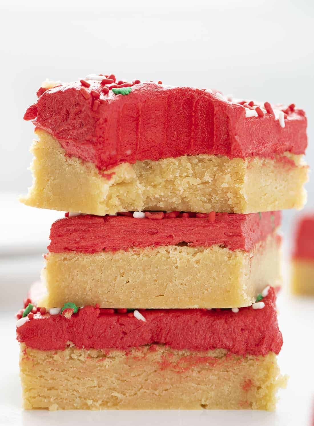 Sugar Cookie Bars for Christmas Stacked