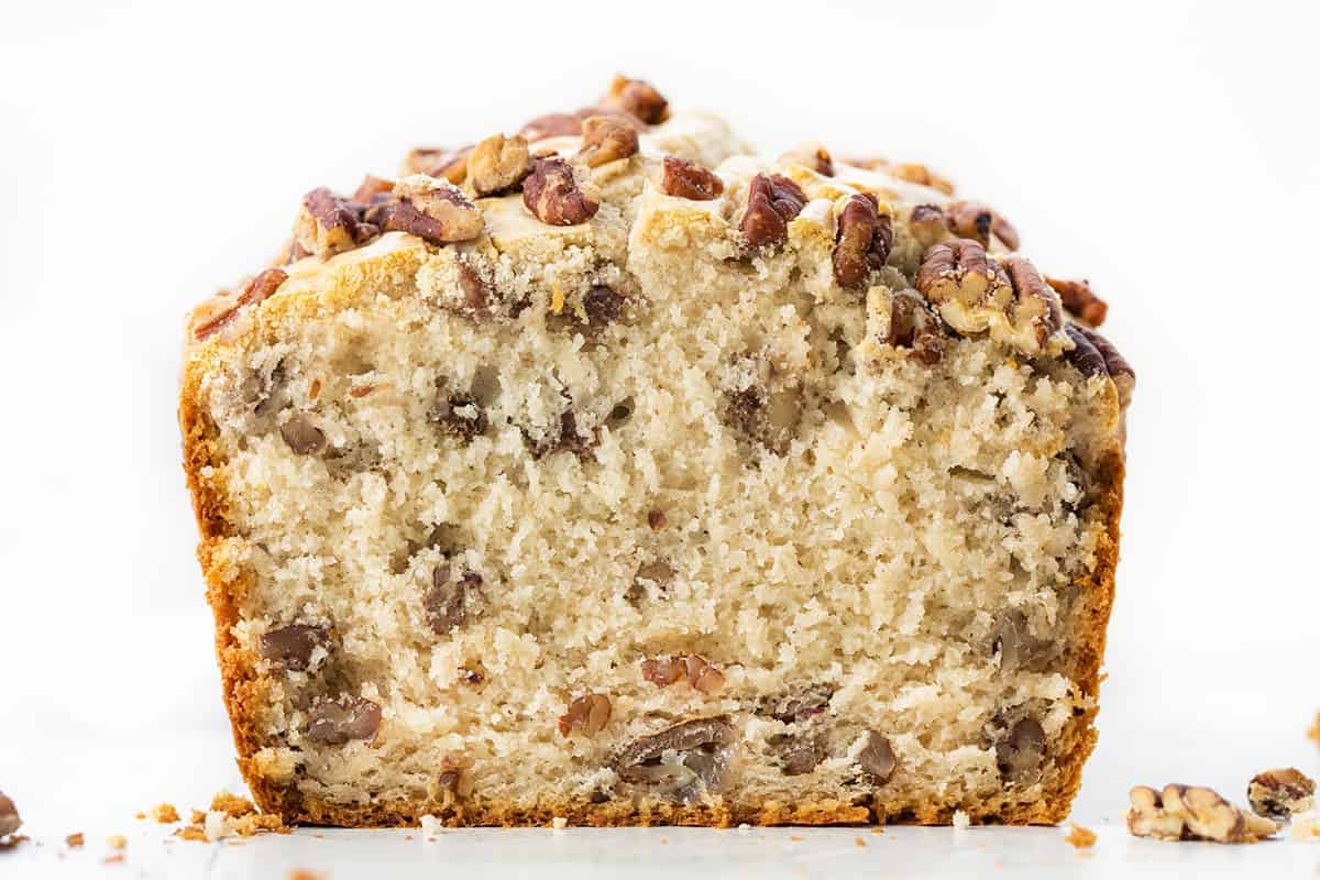 Pecan Ice Cream Bread Cut Into Showing Inside