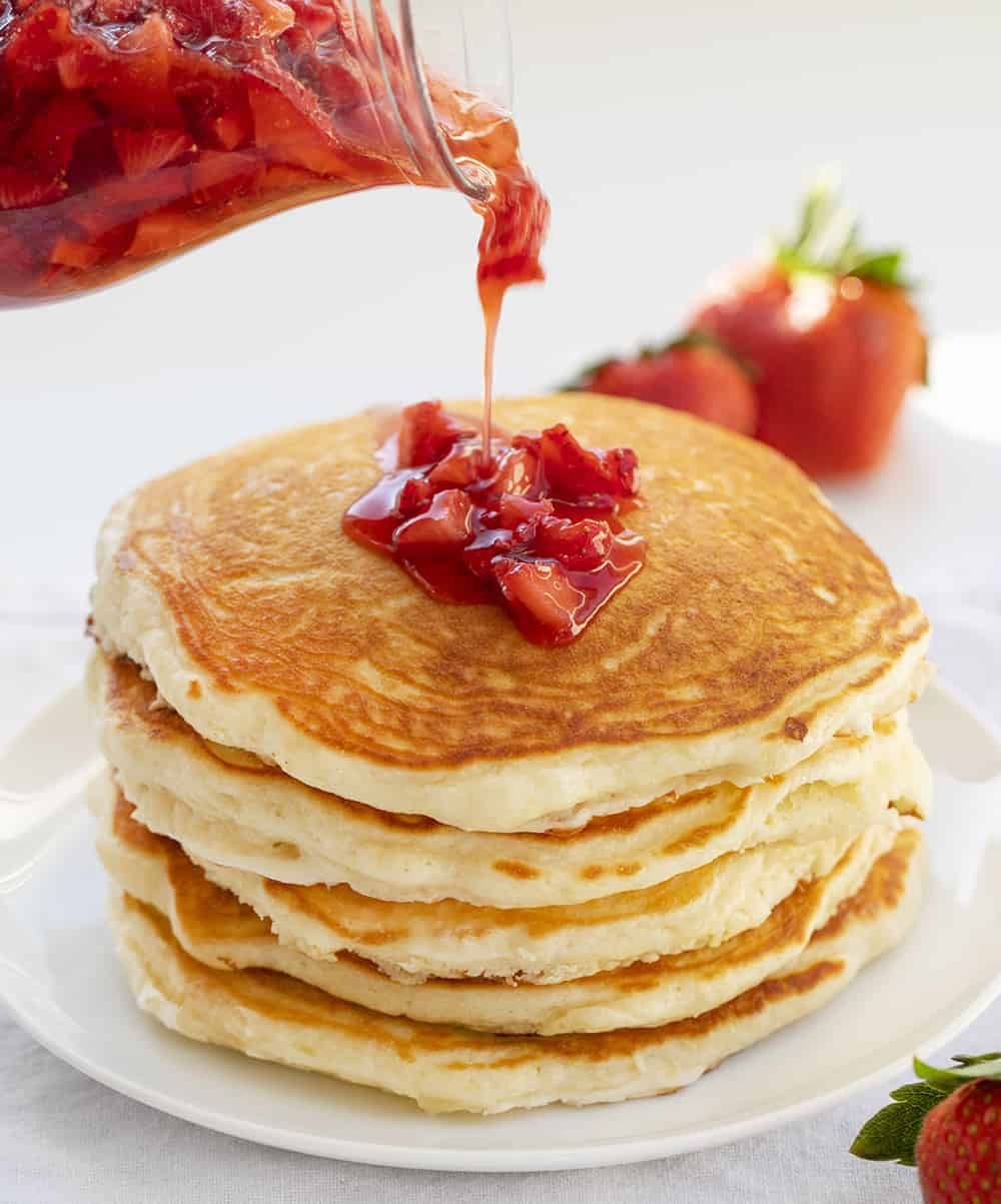 Adding Strawberry Syrup to Buttermilk Pancakes
