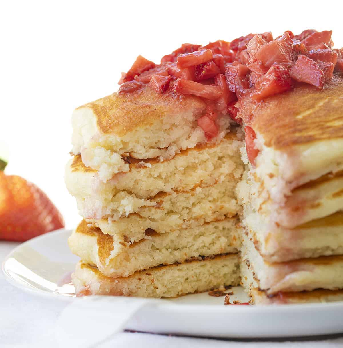 Strawberry Cheesecake Pancakes Cut Into Showing Inside