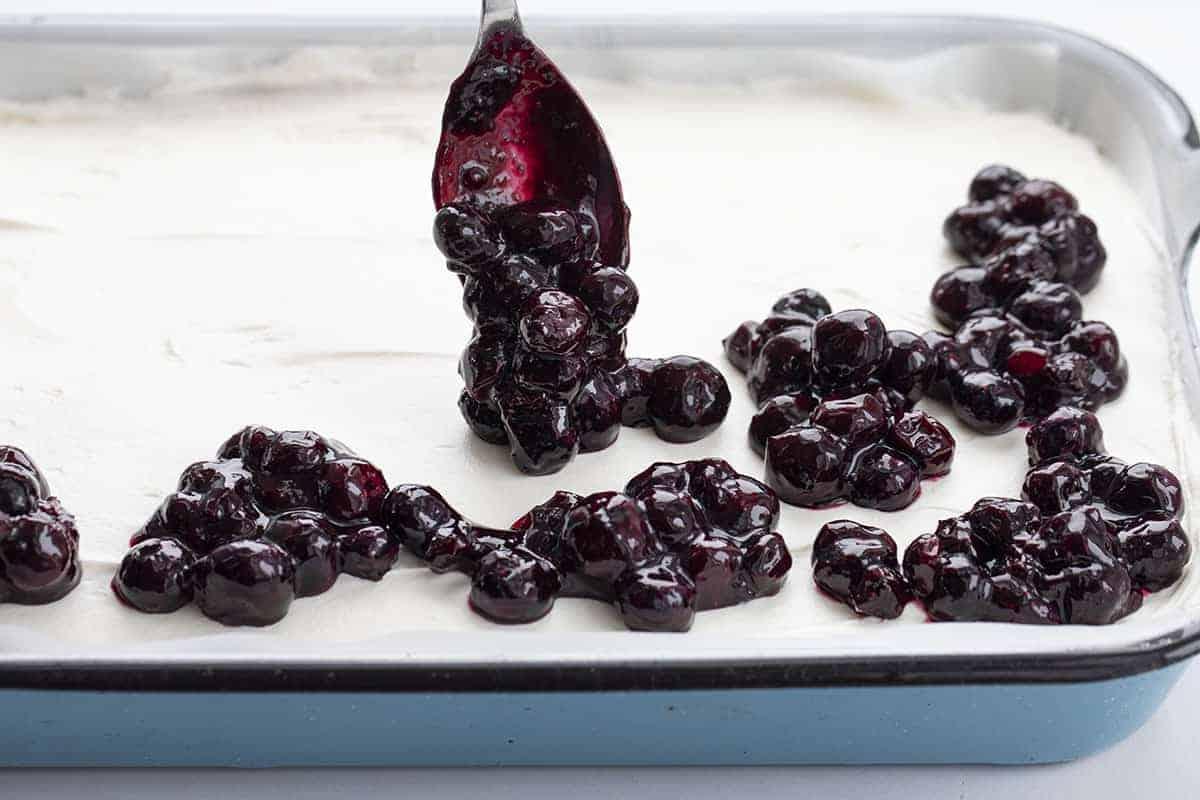 Adding Blueberry Sauce to Blueberry Jamboree