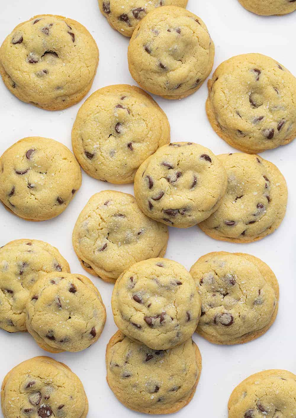 Overhead of Salted Caramel Chocolate Chip Cookies