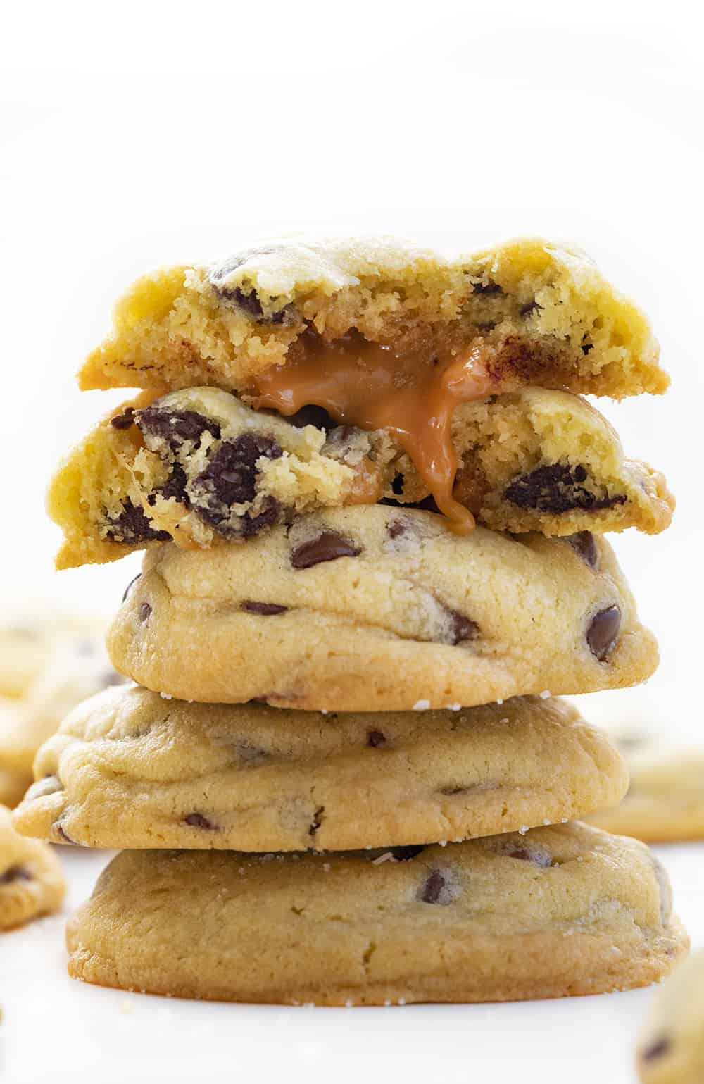 Stacked Salted Caramel Chocolate Chip Cookies