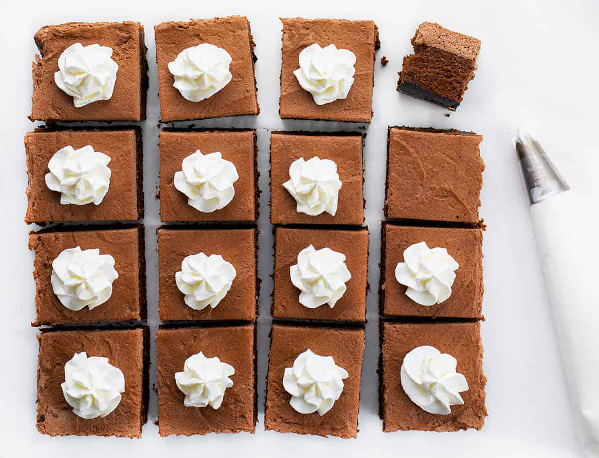 Chocolate Cheesecake Bars Cut Into Squares