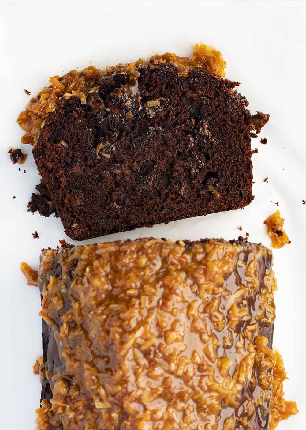 Toasted Coconut Chocolate Banana Bread Recipe - Samoa Bread with Slice Cut
